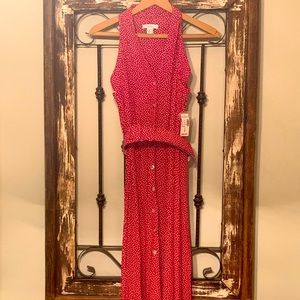 Red DressBarn Long Sleeveless Dress with Belt